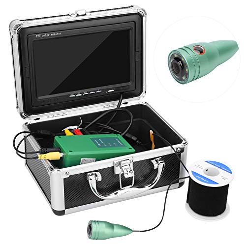 Sonew 7in 1000TVL Cámara subacuática, cámara de Pesca Profesional 50m Cable 6 LED Blancos para Pesca en Hielo, Lago y Barco(YO)