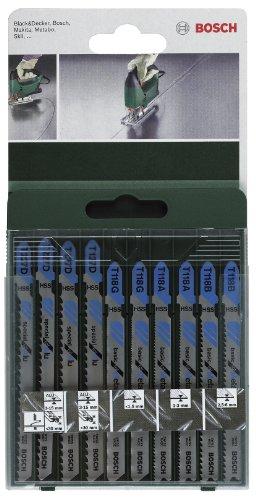 Bosch 2 609 256 745 - Juego de hojas de sierra de calar de 10 piezas vástago en T