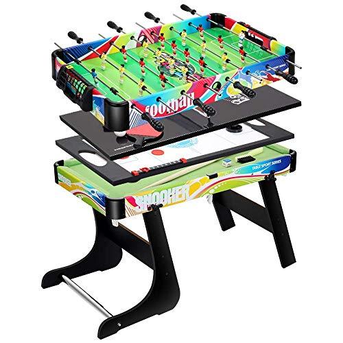 AJH Four In One Kinder Billardtisch Kombination Faltbarer Spieltisch für Erwachsene und Kinder Tischfußball/Billard/Hockey/Tischtennis Multifunktionales Tischspielz
