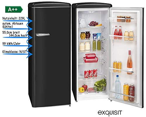 exquisit Vollraumkühlschrank Retro Look Kühlschrank A++ 229 Liter freistehend in fünf Farben (Schwarz)