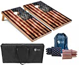 7. Tailgating Pros Rustic American Flag Cornhole Boards w/Bean Bags - 4'x2' Distressed Flag Cornhole Game w/Carrying Case & Corn Hole Bags