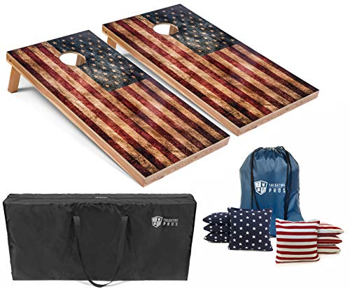Tailgating Pros Regulation Cornhole Boards Flag Set - Includes 8 Bean Bags, Carrying Cases, and 4'x2' Corn Hole Toss Game - Optional LED Lights