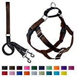 2 Hounds Design Freedom No-Pull Dog Harness with Leash, X-Large, 1-Inch Wide, Brown