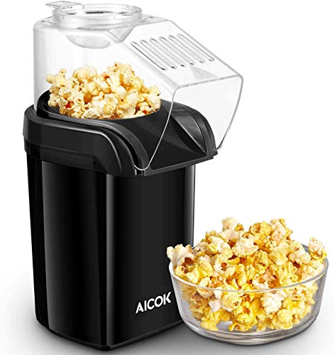 AICOK Hot Air Popcorn Popper, 1200W Fast Popcorn Maker with Measuring Cup, Easy to Clean, Oil-Free & Low-Fat, Black