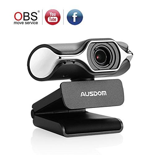 Ausdom Full HD Webcam 1080p, Cámara de streaming en vivo, USB Webcam para llamadas de vídeo y grabación, Soporte de Facebook YouTube streaming, Compatible para Mac OS Windows 10/8/7