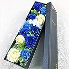 【BIO】フレグランスソープフラワー 新商品MサイズローズスリムBOX フタ付ボックス お祝い 記念日 お見舞い 母の日 父の日 (Mブルー)