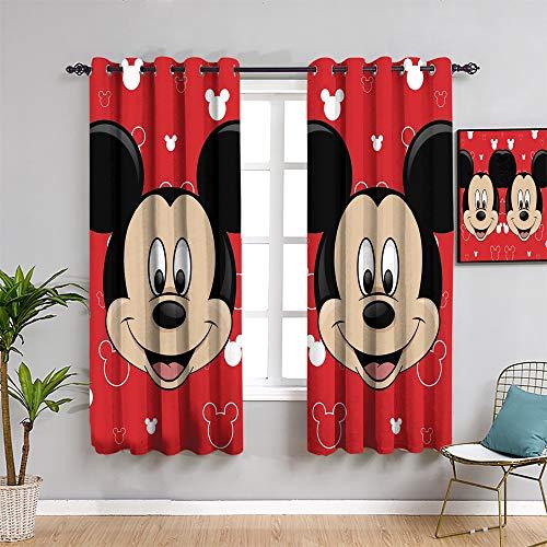 Mickey Minnie Mouse - Cortinas opacas para sala de estar, 160 cm de largo, diseño de ratón Mick-ey Mou-se como un regalo para niños, 2 paneles de 132 cm de ancho x 163 cm de largo