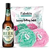 FABSKIN Luxury Bathing Round Loofah for Men and Women And Hipster Beer Shower Gel Body Wash 250ml | Couples Pack of 2 | Aqua and Pink Loofah With Shower Gel | Made In India