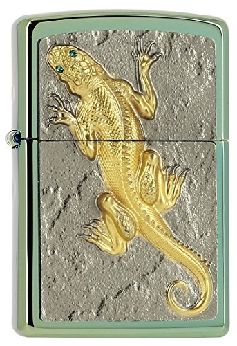 Zippo Zippo Golden Lizard with Green Eyes-Limited Edition 0001/1000-1000/1000-Chameleon Feuerzeug, Chrom, Silber, 5.5 x 3.5 x 2 cm Silber