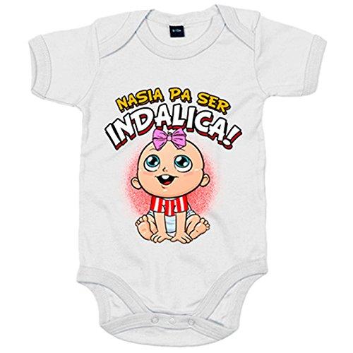 Body bebé nacida para ser Indálica para aficionada al fútbol de Almería - Blanco, Talla única 12 meses