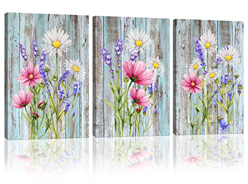 Modern Flowers and Purple Lavender Picture Wall Art For Bathroom Canvas Print Artwork 3 Panels Wooden background Framed Wall Art for Bedroom Kitchen Living Room Home Wall Decor Each Panel 12'x16'