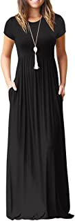 GRECERELLE Women's Loose Plain Maxi Dresses Casual Long Dresses with Pockets
