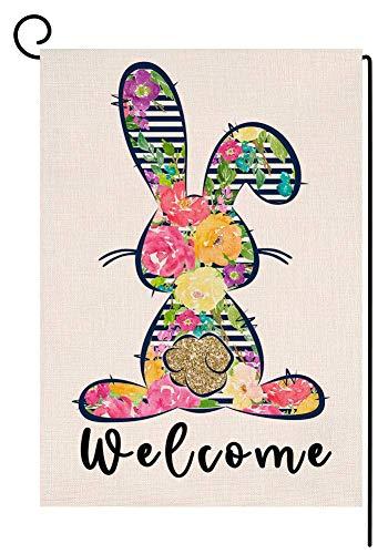 RDXX Bienvenido Primavera Conejito de Pascua Bandera de jardín Vertical de Doble Cara Patio de arpillera Flor Colorida Conejo Decoración al Aire Libre 12.5 x 18 Pulgadas