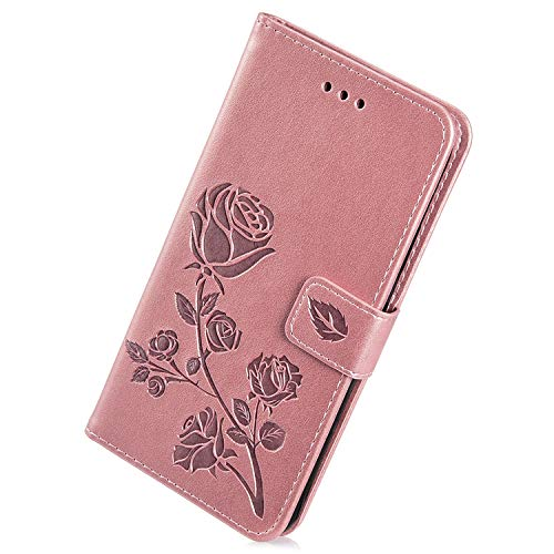 Herbests Cover Compatibile con Samsung Galaxy Grand Prime G530 Custodia PU Leather Retro Vintage Flip Cover Case Goffratura Rose Fiore Modello Copertura Puro Color Custodia Portafoglio, Oro Rosa