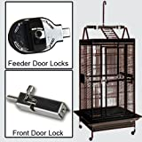 Avian Veterinarian recommended. Great play pen cage for African Greys, Eclectus, Amazons and other Medium size birds NEW BIRD PROOF LOCKS (Feeder & Front Door) Slide out metal tray on Playpen 5 Stainless Cups (10 oz with nipples) Removable Seed guard...
