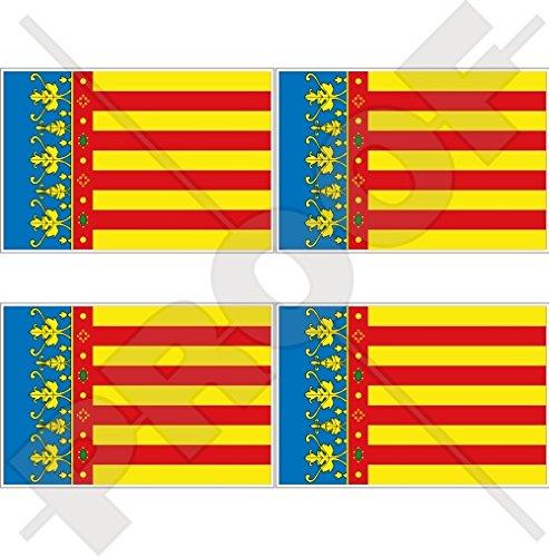 Lot de 4 autocollants en vinyle pour casque Motif drapeau de la communauté Valencienne 50 mm