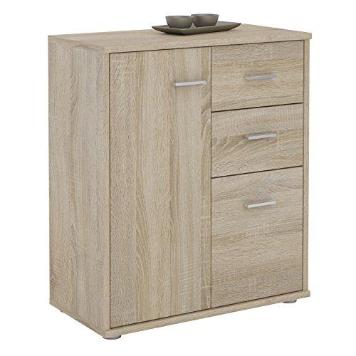 IDIMEX Buffet Remy, Commode Meuble de Rangement avec 2 tiroirs et 2 Portes, en mélaminé décor chêne Sonoma