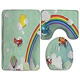 N\A Spring Fans - Juego de alfombras de baño, 3 Piezas, Rosa Alfombra de baño, Tapa de Contorno