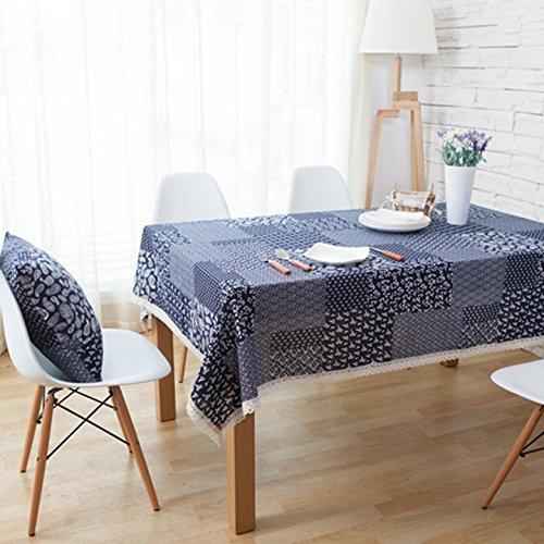 Nappe en lin Tissu Tissu rectangulaire Home pique-nique à la poussière Antifouling doux Premium Table 2 120*120cm