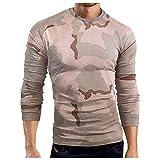 Taurner Tops Long Sleeve Deportivo Sudadera de Fitness Superior Cómodo Casual Manga Larga de Camuflaje Pullover para Hombre Otoño Invierno Camisetas Blusa Transpirable