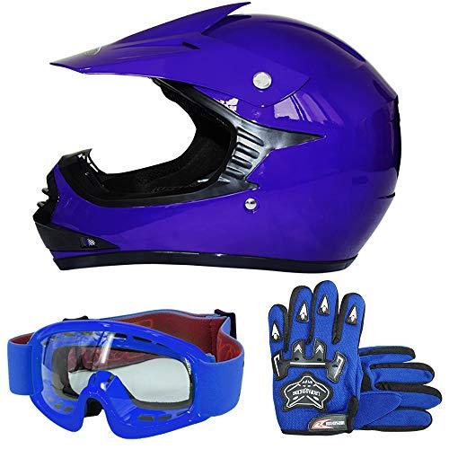 Leopard LEO-X15 Blau Kinder Motorrad Helm S(49-50cm) + Handschuhe S-5cm + Zorax Brille Kinder Motorradhelm Full Face MX Helmet Mädchen Jungen Dirt Bike