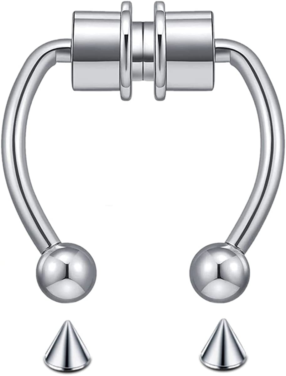 EASYGNAL Magnetic OFFicial site Nose Challenge the lowest price of Japan ☆ Ring Horseshoe Rings Steel 316L Stainless