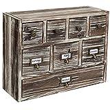 MyGift 13-Inch Weathered Whitewashed Brown Wood Desktop Organizer, 8 Drawer Jewelry & Craft Supplies Cabinet