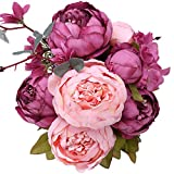 StarLifey Vintage Ramo de Flores de peonia Rosa, Artificiales, para Boda decoración para ...