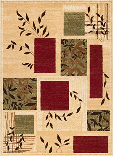 """Well Woven Great Forest Ivory Floral Nature Modern Formal Area Rug 8x10 8x11 (7'10"""" x 9'10"""") Easy to Clean Stain Fade Resistant Shed Free Traditional Transitional Soft Living Dining Room Rug"""