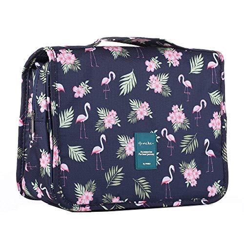 homchen Hanging Travel Toiletry Bag, Waterproof Folding Portable Cosmetic Bag, Wash Bag for Men and Women (M, Flamingo)