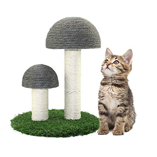 Oteas Cat Scratching Post Mini Mushroom Cat Tree House Cat Scratcher Traning Toys for Cats Kitten, Small Animals