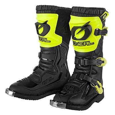 O'NEAL | Motocross-Stiefel | Kinder | Enduro Motorrad | Komfortables Air-Mesh, vier Verschlussschnallen, hochwertiges Synthetik-Material | Boots Rider Pro Youth | Schwarz Neon-Gelb | Größe 4/36