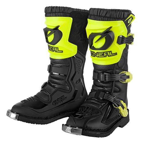 O'NEAL | Motocross-Stiefel | Kinder | Enduro Motorrad | Komfortables Air-Mesh, vier Verschlussschnallen, hochwertiges Synthetik-Material | Boots Rider Pro Youth | Schwarz Neon-Gelb | Größe 6/38