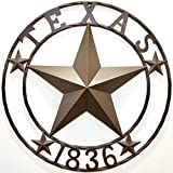 BestGiftEver Metal 24' Circle - Texas 1836 Wall Hanging Decoration Plaque