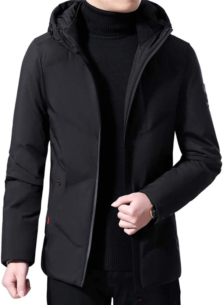 Down jacket Short Paragraph Hooded, Middle-Aged Men's Thicken Casual Warm Jacket, Padding: 80% Gray Duck Down (Color: Black, Army Green)