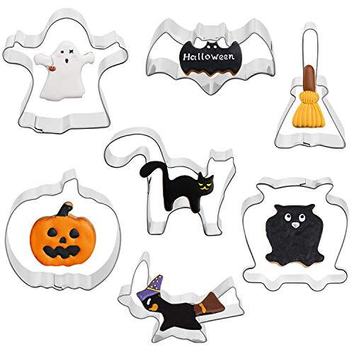 Yuson Girl 7PCS Formine Biscotti Halloween Ringraziamento Cookie Cutters Set con Le Forme di Pipistrello, Zucca,Gatto e Fantasma,per Biscotti Frutta Torta Festa Halloween Acciaio Inossidabile