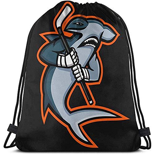 BOUIA Unisex Drawstring Bag Hammerhai Hockey Spieler Rucksack Sport Gym Schultasche