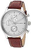 Vince Camuto VC/1101WTBN - Reloj multifunción para hombre (correa de piel café y plateado)