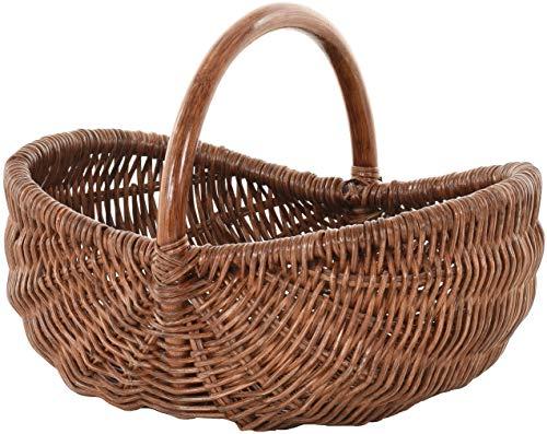Einkaufskorb/Bügelkorb/Shopper aus echtem Rattan, Henkel- Trage-Korb leicht und stabil (Braun)