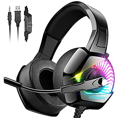 ONIKUMA Gaming Headset-PS4 Headset with Mic, 7.1 Surround Sound Effect & RGB Light Xbox One Headset,Gaming headphones PC Headset with Noise Canceling for PS4, PC, Mac, Xbox One (Adapter Not Included) by ONIKUMA