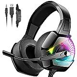 ONIKUMA Cascos Gaming Auriculares con Microfono Sonido Envolvente Cascos Xbox One Auriculares PC con Premium Stereo, Orejeras Acolchadas Ligero Cómodo y Diadema Ajustable, Iluminación RGB