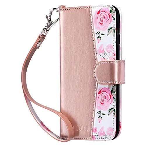 ULAK Wallet Case for iPhone 6s Plus, iPhone 6 Plus Case, Flip Folio PU Leather Kickstand Case with Card Slot Wrist Strap ID Credit Card Pockets for iPhone 6 Plus / 6S Plus 5.5 inch, Rose Gold