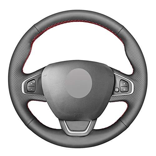 YGLONG Schwarz PU-Leder-Handgenähtes Auto-Lenkrad-Abdeckung for Renault Clio 4 (IV) Kaptur Captur 2016-2019...