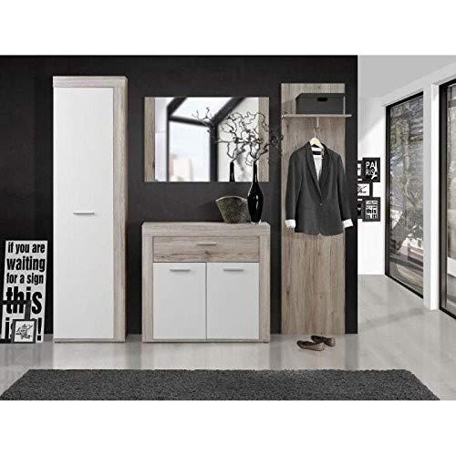 FORTE Zumba Komplettgarderobe, Holz, sandeiche / weiß, 135.40 x 41 x 87.10 cm