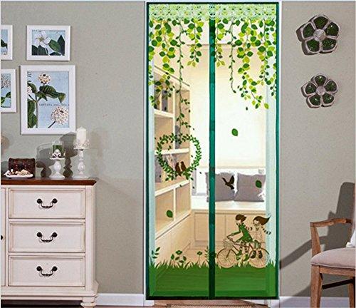 ZARABE Magnetic Screen Door, Full Frame Velcro. Fits Door Openings up to 39'x82' MAX (Green)