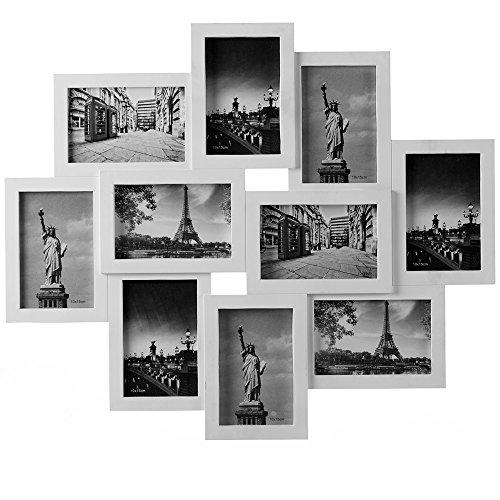 Deuba Bilderrahmen Collage Weiß Für 10 Fotos 10x15 cm Hoch-oder Querformat, Bildergalerie Fotogalerie 59 x 50 cm