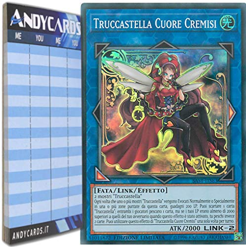 Andycards Yu-Gi-Oh! – Truckella Corazón Carmesí – Super Rara SAST-ITSE3 en italiano + marcador de puntuación