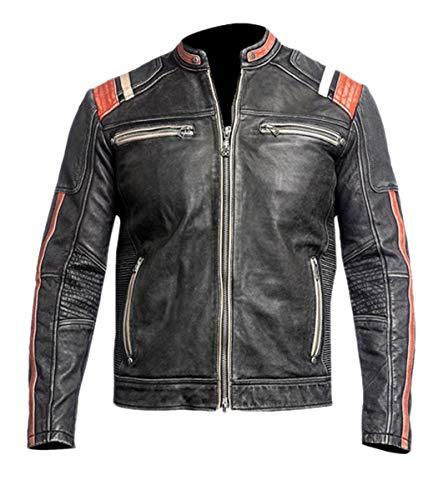 Emporrio ARMANI Uomo, Donna Retro 3 Cafe Racer Vintage retrò Stile Motociclista Giacca in Vera Pelle Nero Antracite -l