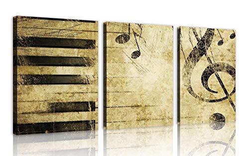 Notas Musicales Y Teclas De Piano Cuadros De Pintura De Arte 3 Cuadros Para El Dormitorio Decoración Moderna Del Hogar