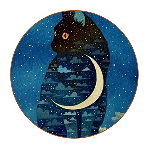 Moonlight Starry Cat - Posavasos de fibra de piel con 6 posavasos redondos para salón, cocina, bar, decoración